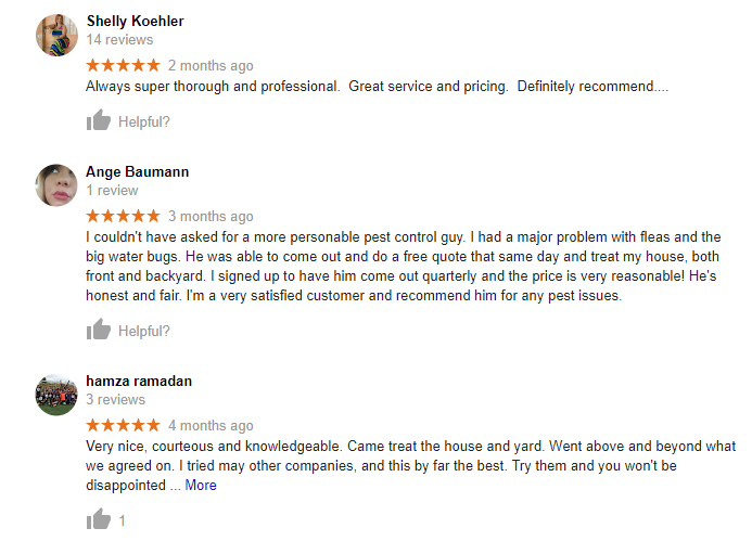 Great Reviews for Your Neighborhood Pest Control.